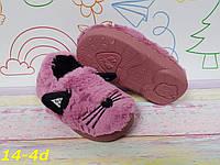 """Детские комнатные тапочки меховые очень теплые """"Котики"""" фиолетовые, фото 1"""