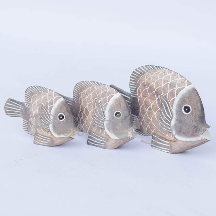 Деревянная статуэтка «Рыба бежевая «Волна»,(16 см, 13 см, 10 см) » (32105e)