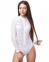 Белое гипюровое боди рубашка (размеры S-L)