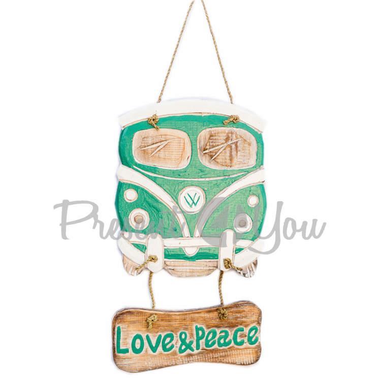 Деревянная табличка фольцваген «Welcome», «Love Pease», h-31x21 см. (20328e)