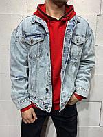 😜 Джинсовка - Мужская куртка джинсовка голубая (плотный джинс)