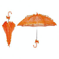 Оранжевый кружевной, ажурный свадебный зонт от солнца.