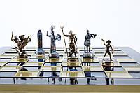 Шахматный набор в стиле греческой мифологии, синяя шахматная доска 36см