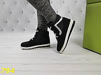 Ботинки дутики зимние на шнуровке черные снежинки, фото 1