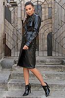 Женское пальто-тренч двубортное из экокожи (S, M, L) черный