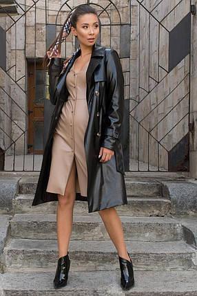 Женское пальто-тренч двубортное из экокожи (S, M, L) черный, фото 2