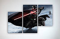 Картина модульная на холсте Черно-белая Звездные войны Star Wars Darth Vader Дарт Вейдер 90х60 из 3х
