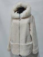 Шубка из овечьей шерсти с капюшоном(отделка песец) на молнии цвет-бежевый длина 60см 46р 48р 50р 52р 54р