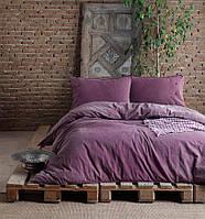 Комплект постельного белья SoundSleep Stonewash Denim burgundi Двуспальный евро комплект