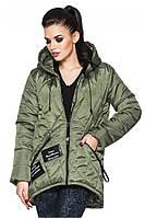 Стильная красивая женская осенняя модная стеганая куртка-парка с карманами и капюшоном. Арт-4004/1