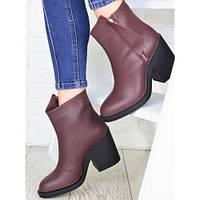Женские кожаные демисезонные ботинки ботильоны на толстом каблуке бордовые \ зимние женские ботинки, фото 1