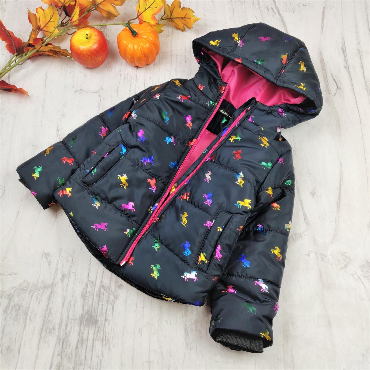 Детские куртки оптом (4 шт) единорог на девочку демисезон черная, 116-134