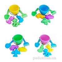 Детский песочный набор Крошка ведро лопатка грабли три пасочки 4 вида Simba 711 3032/1036