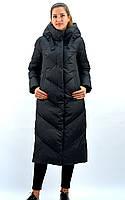 Длинный зимний пуховик с капюшоном черного цвета ТМ Dibu , арт. Н-203, размеры: 42, 44, 46, 48, 50
