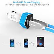 Автомобильное зарядное Meidi Dual USB Smart LED, фото 4