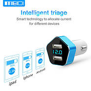 Автомобильное зарядное Meidi Dual USB Smart LED, фото 7