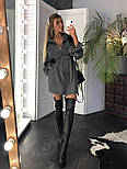 Женское популярное серое вельветовое платье с поясом (в расцветках), фото 3