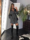 Женское популярное серое вельветовое платье с поясом (в расцветках), фото 4