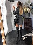 Женское популярное серое вельветовое платье с поясом (в расцветках), фото 5