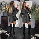 Женское популярное серое вельветовое платье с поясом (в расцветках), фото 7