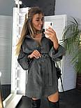 Женское популярное серое вельветовое платье с поясом (в расцветках), фото 8