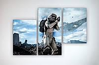 Картина модульная постер на холсте Звездные войны Star Wars Штурмовик 90х60 из 3х частей