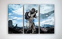 Картина в интерьер подростка Звездные войны Star Wars Штурмовик 90х60 из 3х частей