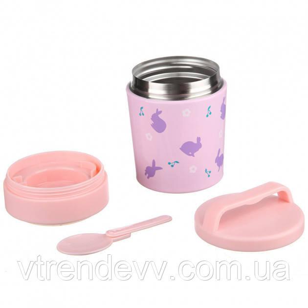 Термос харчовий універсальний дитячий A-PLUS 350 мл термокружка з малюнком металевий Рожевий