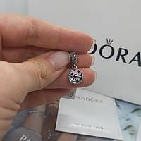 Серебряный шарм в стиле Pandora с бабочками и стрекозой