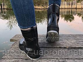 Женские резиновые  сапоги, полу сапоги с утеплителем черные, фото 2