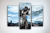 Картина постер на холсте Звездные войны Star Wars Штурмовик 90х70 из 3х частей