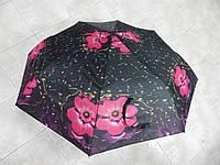Зонт-полуавтомат черный с цветами