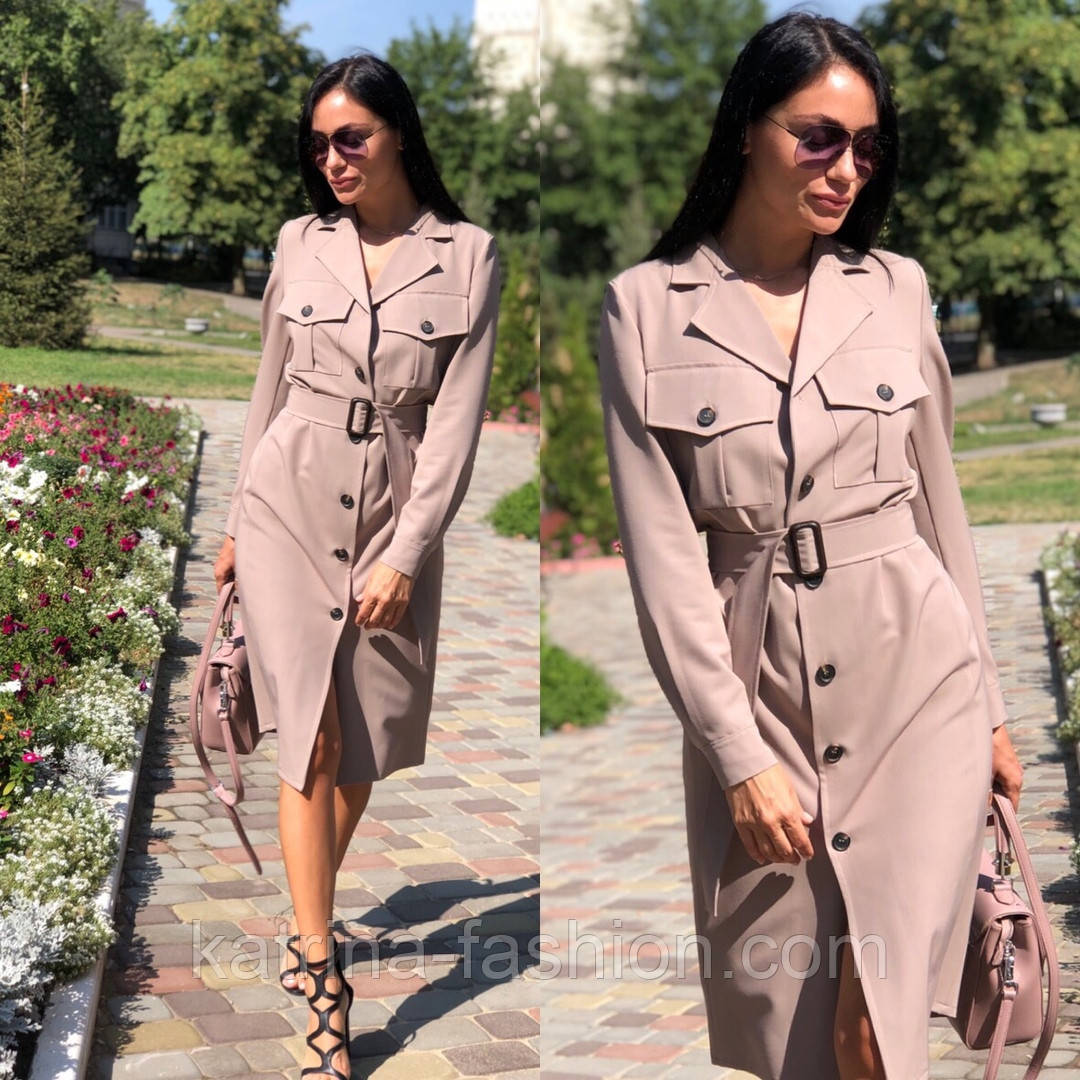 Женское платье-миди с поясом  (в расцветках)