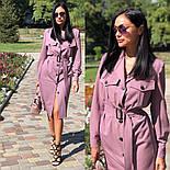 Женское платье-миди с поясом  (в расцветках), фото 6