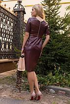Элегантное женское платье-футляр из экокожи (XS, S, M, L) разные цвета, фото 3