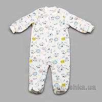 Человечек велюровый молочный принт собачки Модный карапуз 304-00006 68