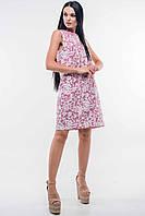Льняное короткое розовое женское платье RiMari Отти 42, 52