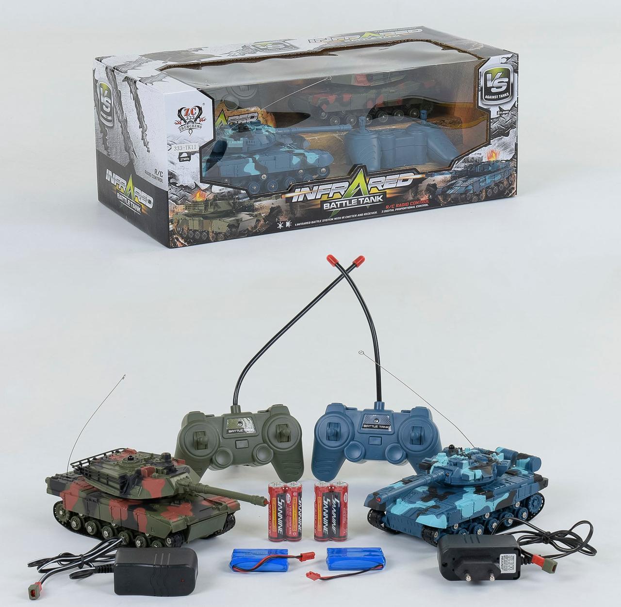 Танковый бой на радиоуправлении 333 - ТК 11, аккум. 3.6V, 2 цвета световые ефекты, Звуковые ефекты