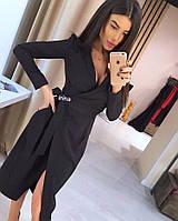 Женское осенне платье на запах с поясом красное чёрное бордо бутылка 42-44 44-46