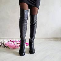 Высокие кожаные сапоги Luxury черная кожа