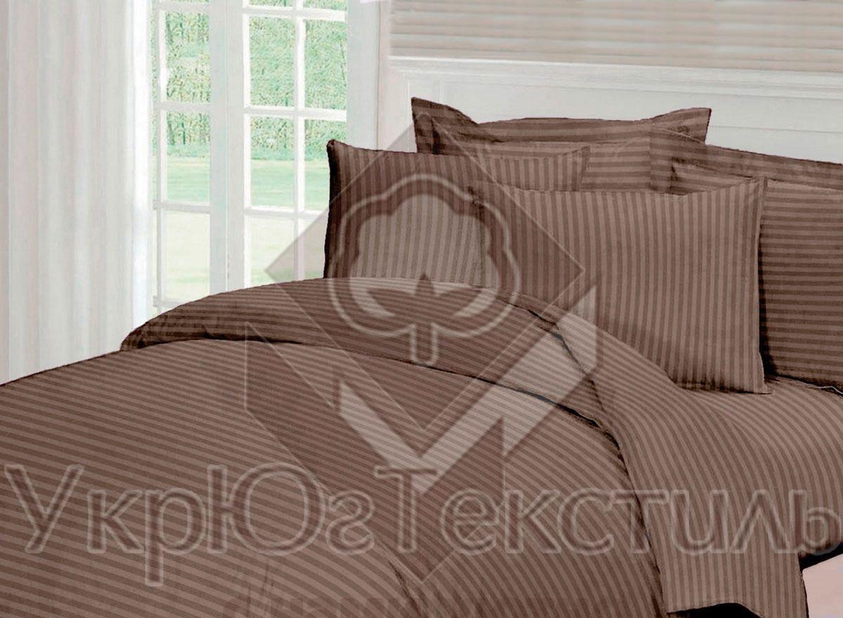 Комплект постельного белья полуторный страйп-сатин УкрЮгТекстиль коричневый