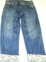 Летние джинсовые бриджи blue motion с милыми цветочками, фото 1