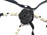 Чорні стрінги з трояндою і перлами, фото 6