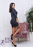 Модное платье приталенного кроя  из трикотажного полотна  ангора-рубчик