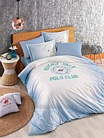 Постельное белье Beverly Hills Polo Club BHPC ранфорс 019 Blue Двуспальный евро комплект