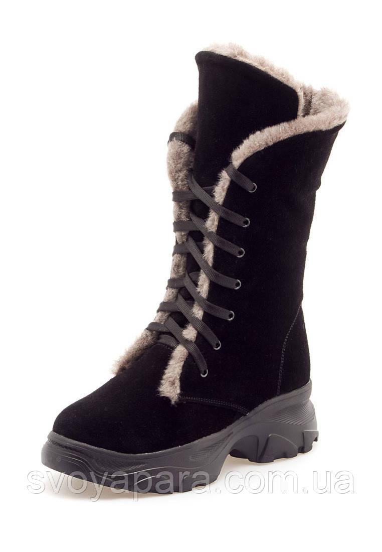Женские зимние высокие ботинки черные замшевые (0153)