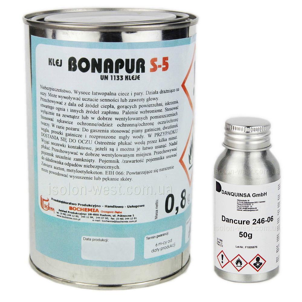 Термостойкий клей Bonapur S-5 (под пульвер) для перетяжки торпеды 1л.(в комплекте с отвердителем  50мл).