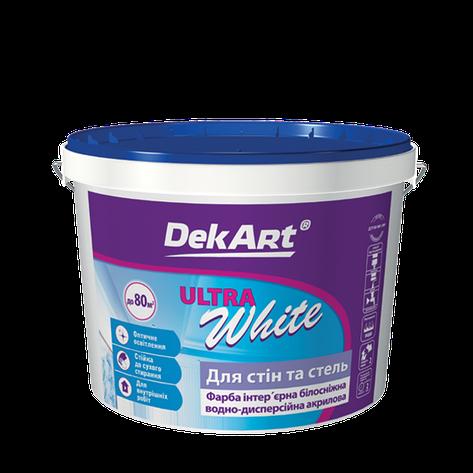 """Водно-дисперсионная краска для внутренних работ TM """"DekART"""" Ultra White - 3,0 л., фото 2"""
