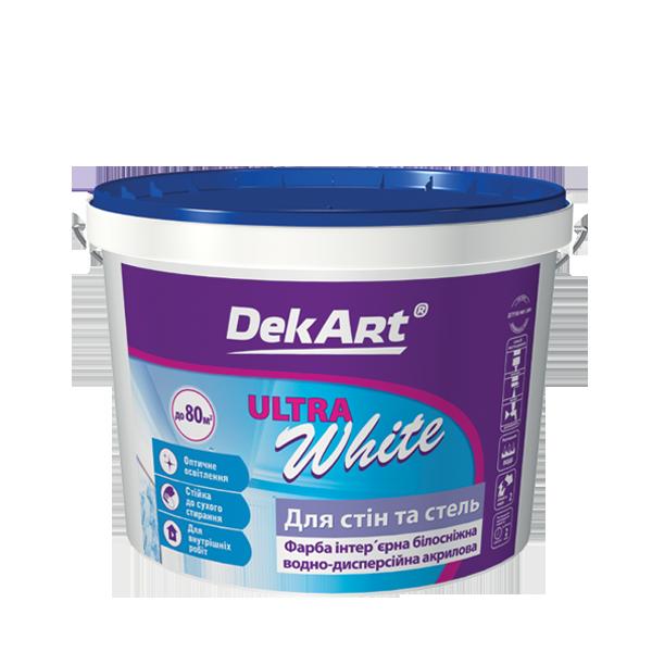 """Водно-дисперсионная краска для внутренних работ TM """"DekART"""" Ultra White - 5,0 л."""