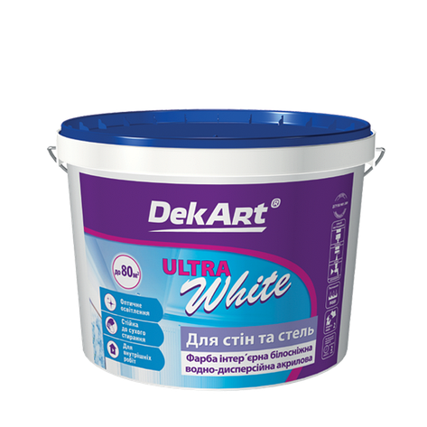 """Водно-дисперсионная краска для внутренних работ TM """"DekART"""" Ultra White - 5,0 л., фото 2"""